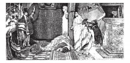Calígula y Claudio, la pintura de Alma-Tadema (ver pág 367). - Dibujo J. Lavee, cosecha ilustración grabada. Magasin Pittoresque 1874