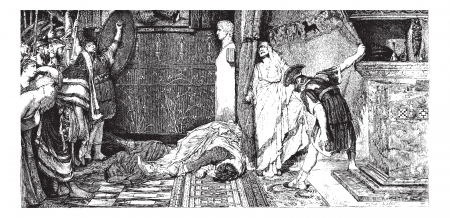 alma: Caligula and Claude, painting by Alma-Tadema (see p 367). - Drawing J. Lavee, vintage engraved illustration. Magasin Pittoresque 1874