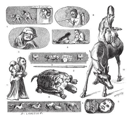 damas antiguas: Lugares de interés japonés, Lámina II. - Dibujo de Lanzarote, cosecha ilustración grabada. Magasin Pittoresque 1874.