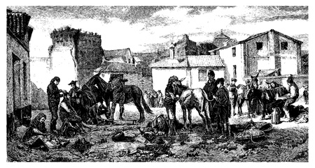 The shearers Granada, paint Worms. - Drawing J. Lavee. - (This table belongs to MM. Goupil and Co.), vintage engraved illustration. Magasin Pittoresque 1874.  Vector