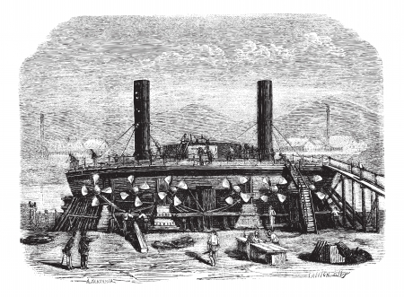 The Popovkas view from the back, New Russian coast guard, Drawing Jahandier, vintage engraved illustration. Magasin Pittoresque 1874.    イラスト・ベクター素材