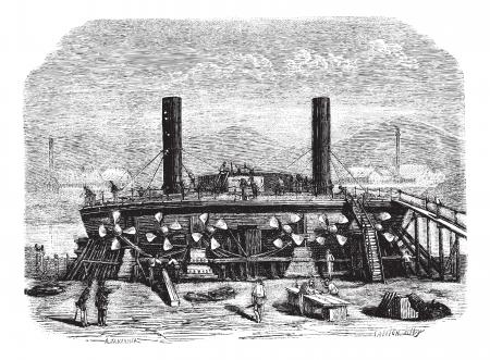 coast guard: El punto de vista Popovkas de la parte posterior, guardia de costa de Nueva Rusia, Dibujo Jahandier, cosecha ilustraci�n grabada. Magasin Pittoresque 1874. Vectores