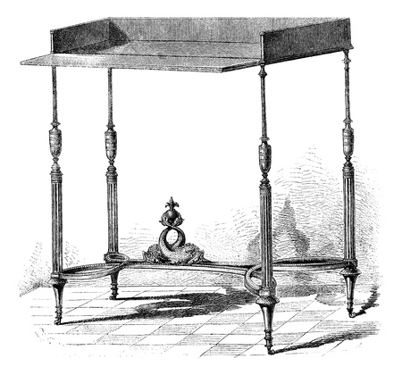 Collection of Mr Double. - Table supposed to have belonged to the daughters of Louis XV or the eldest son of Louis XVL. Drawing Sellier, vintage engraved illustration. Magasin Pittoresque 1875. Stock Vector - 13771730