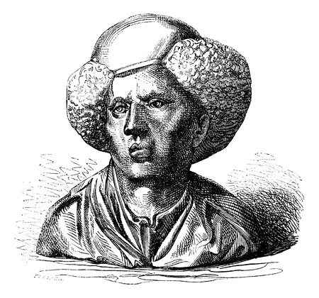 Collection of Baron Davillier. - Bronze bust of Andrea Briosco, Riccio said, by itself, vintage engraved illustration. Magasin Pittoresque 1875.
