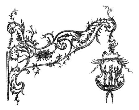 Wrought iron signs, a Temesvar. Drawing Garnier, after the album of Mr. Ernest Desjardins, vintage engraved illustration. Magasin Pittoresque 1875. Vector