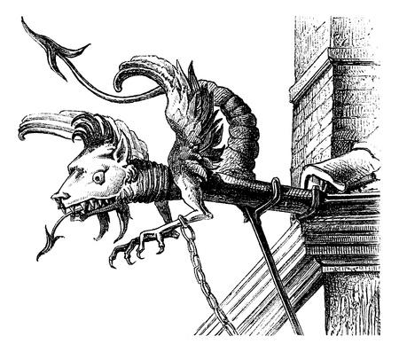 gargouille: Gargouille du XVIe si�cle, une Neuch�tel (Suisse), illustration de cru grav�. Magasin Pittoresque 1875.