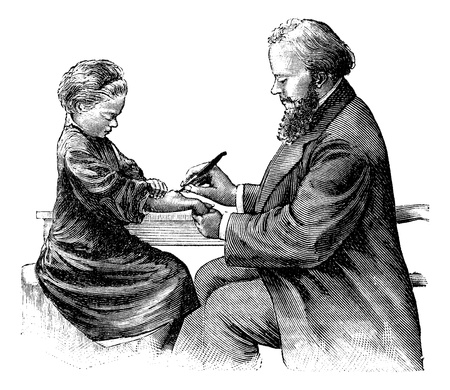 doctor examine: Position of the surgeon incising an abscess of the forearm, vintage engraved illustration. Magasin Pittoresque 1875.