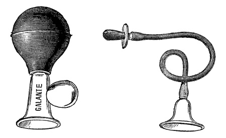 etching:  A suction nipple & nipple crystal avectetine rubber has a tube connecting the bell nipple, vintage engraving illustration. Magasin Pittoresque 1875.