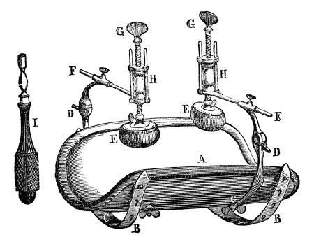 Broca compressor., vintage engraved illustration. Magasin Pittoresque 1875. Ilustração