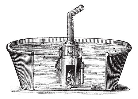 Fig. 137. Bath with mobile device to heat water in a large bath 45 minutes with charcoal, vintage engraved illustration. Magasin Pittoresque 1875.