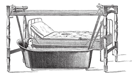 patients: Fig. 140. Dupont apparatus for transportation of patients from their beds in the bathtub, vintage engraved illustration. Magasin Pittoresque 1875.