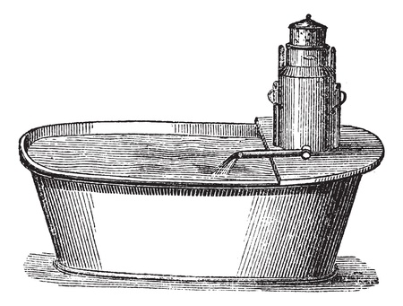 mobile device: Bathtub with mobile device, vintage engraved illustration. Magasin Pittoresque 1875.