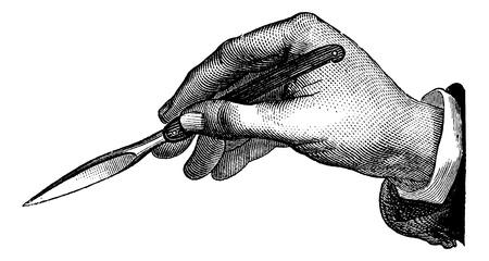 incision: Position du bistouri dans lincision simple de dedans en dehors, faite contre soi sans conducteur, vintage engraved illustration. Magasin Pittoresque 1875.