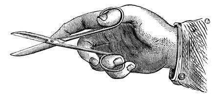 surgeon: Come tenere le forbici per fare uno, illustrazione d'epoca incisione inciso. Magasin Pittoresque 1875.