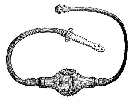 injector:  Injector English, vintage engraved illustration. Magasin Pittoresque 1875.