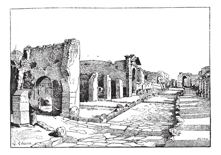Pompei, way of the tombs,  vintage engraved illustration. Dictionary of words  and things - Larive and Fleury - 1895.