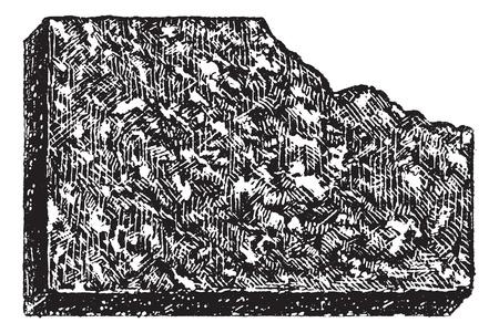 Porphyrius, vintage gegraveerde illustratie. Porphyrius een verscheidenheid van stollingsgesteente bestaande uit grote korrel kristallen. Woordenboek van woorden en dingen - Larive en Fleury - 1895.