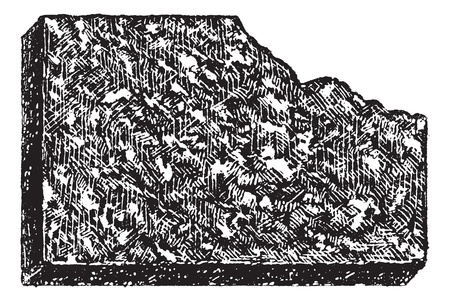 Porphyry, vintage engraved illustration. Porphyry a variety of igneous rock consisting of large-grained crystals. Dictionary of words and things - Larive and Fleury - 1895.