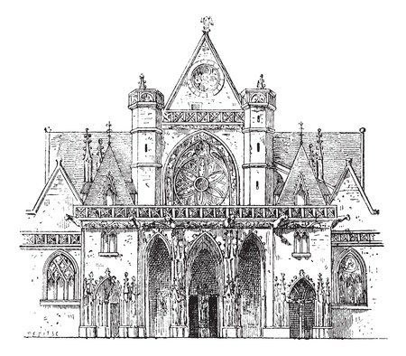 religious building: Porch, SAINT-Germain lAuxerrois, Paris, vintage engraved illustration. Dictionary of words and things - Larive and Fleury - 1895.