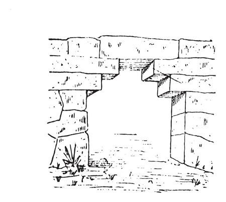 Old engraved illustration of the gate at Phigalia in Arcadia, Greece. Dictionary of words and things - Larive and Fleury ? 1895