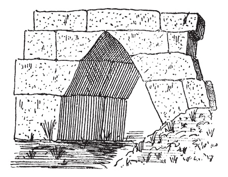 unesco: Old engraved illustration of the gate at Thoricus in Attica, Greece. Dictionary of words and things - Larive and Fleury ? 1895 Illustration