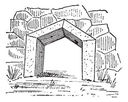 Old engraved illustration of the gate at Arcadia in Greece. Dictionary of words and things - Larive and Fleury ? 1895