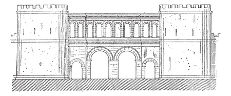 Old engraved illustration of the gate of Saone-et-Loire in  Autun, France. Dictionary of words and things - Larive and Fleury ? 1895