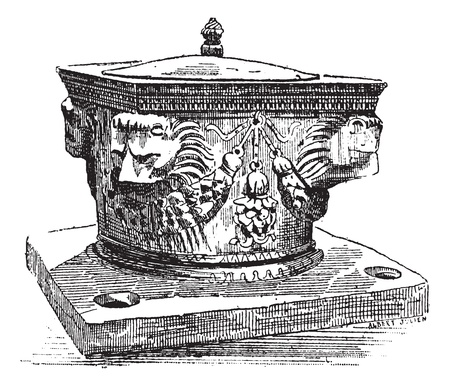 french culture: Well In Venice, Italy, vintage engraved illustration. Dictionary of words and things - Larive and Fleury - 1895.