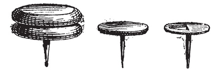 drawing pin: Drawing Pin or Push Pin or Thumbtack, vintage engraved illustration. Dictionary of words and things - Larive and Fleury - 1895.