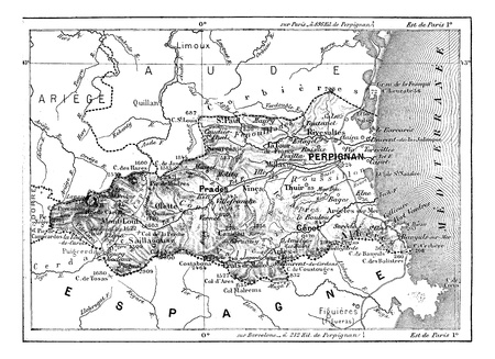географический: Департамент восточных Пиренеях, старинные гравированные иллюстрации. Словарь слов и вещей - Larive и Флери - 1895.