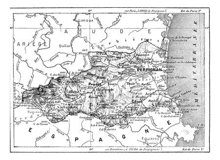 zeměpisný: Katedra východních Pyrenejích, vintage ryté ilustrační. Slovník slov a věcí - Larive a Fleury - 1895.