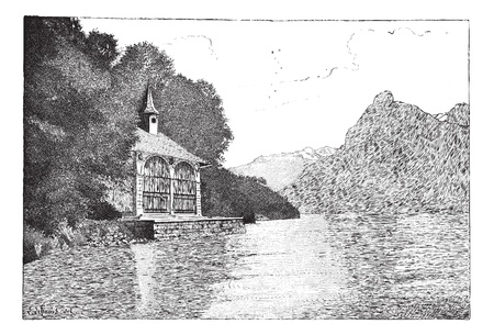 Old engraved illustration of the chapel of William Tell with Lake Lucerne in front. Dictionary of words and things - Larive and Fleury ? 1895