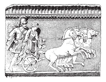 chariot: Old engraved illustration of the Return of Helen on quadriga from the Campana collection (Louvre Museum). Dictionary of words and things - Larive and Fleury ? 1895 Illustration