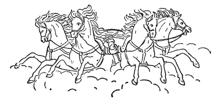 old horse: Old engraved illustration of Quadriga. Dictionary of words and things - Larive and Fleury ? 1895