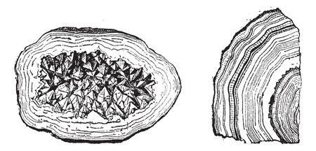 Old engraved illustration of Quartz Geode and Agate isolated on a white background. Dictionary of words and things - Larive and Fleury ? 1895