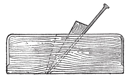 Old engraved illustration of Plane (tool) isolated on a white background. Dictionary of words and things - Larive and Fleury ? 1895 Vector