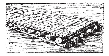 raft: Old engraved illustration of Phoenician raft floating in the water. Dictionary of words and things - Larive and Fleury ? 1895