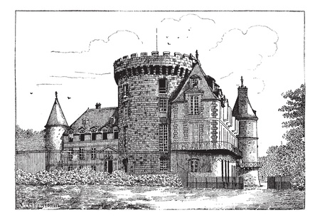 fortified: Chateau of Rambouillet, vintage engraved illustration. Dictionary of words and things - Larive and Fleury - 1895.