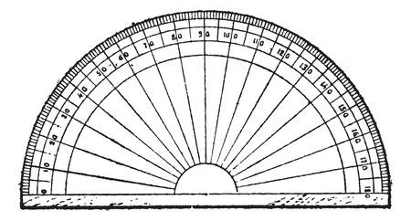 protractor: Protractor isolated on white, vintage engraved illustration. Dictionary of words and things - Larive and Fleury - 1895.
