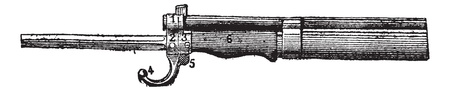 bayonet: Repeating firearm, The bayonet mount rifle Lebel, vintage engraved illustration. Dictionary of words and things - Larive and Fleury - 1895.