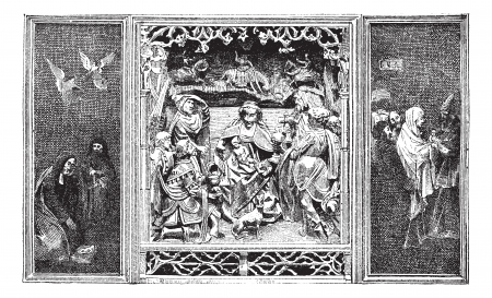 triptych: Altarpiece, vintage engraved illustration. Dictionary of words and things - Larive and Fleury - 1895.