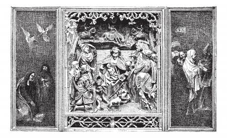 retablo: Retablo, cosecha ilustraci�n grabada. Diccionario de palabras y las cosas - Larive y Fleury - 1895.