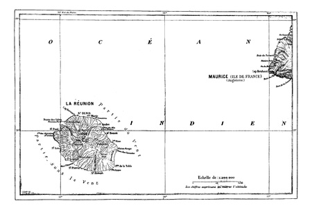 Reunion and Mauritius Map, vintage engraved illustration. Dictionary of words and things - Larive and Fleury - 1895. Vectores