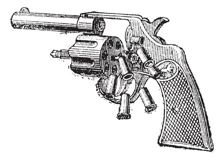 colt: Colt Revolver, vintage engraved illustration. Dictionary of words and things - Larive and Fleury - 1895.