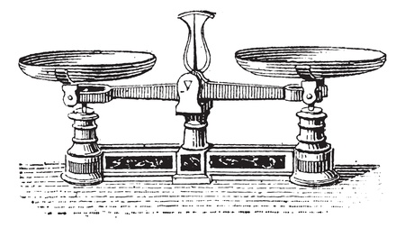weighing scales: Fig.3. Roberval balance, vintage engraved illustration. Dictionary of words and things - Larive and Fleury - 1895.