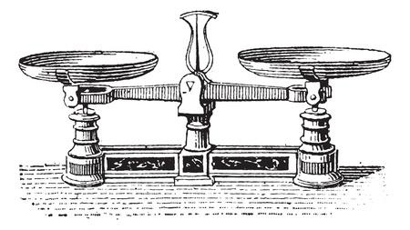 Fig.3. Roberval balans, vintage gegraveerde illustratie. Woordenboek van woorden en dingen - Larive en Fleury - 1895.