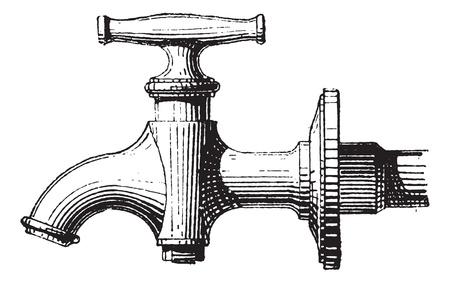 llave de agua: Pulse sobre fondo blanco, cosecha ilustración grabada. Diccionario de palabras y las cosas - Larive y Fleury - 1895.