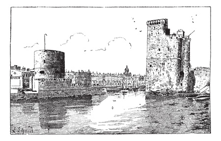 fortification: Port of La Rochelle, France, vintage engraved illustration. Dictionary of words and things - Larive and Fleury - 1895.