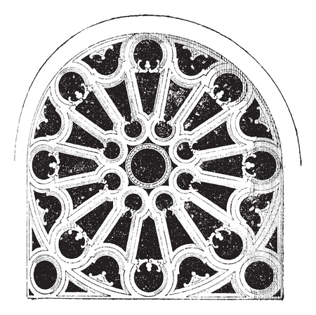 church window: Rose Renaissance, In the Church of Sainte-Clotilde Andelys, vintage engraved illustration. Dictionary of words and things - Larive and Fleury - 1895.
