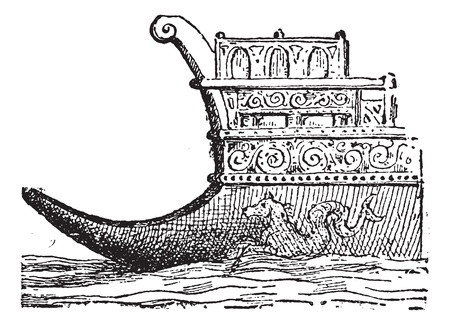 rostrum: Rostrum or Naval Ram, vintage engraved illustration. Dictionary of words and things - Larive and Fleury - 1895. Illustration